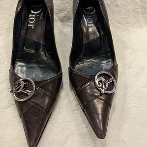 Dior Brown Leather Kitten Heels